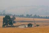 Hills hidden by  smoke haze
