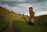 Moai at dusk, Rano Raraku.