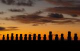 Moai at dawn, Ahu Tongariki.