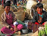 Women selling aspaagus at the Paro Market