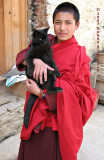Young Monk with Kitty