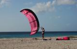 kite surfing in pink