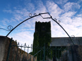 Wrought iron halo,with Folkton Parish church,behind