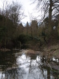 Clavering  Castle ,the  stream  fed  moat