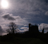 Torthorwald Castle,silhouetted against the afternoon sun