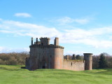 Caerlaverock Castle,nestling within it's defensive earthworks