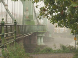 Hammersmith Bridge,in mist.
