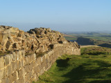 Hadrian's  Wall ,looking  down  to  Peel  Crags  and  Crag  Lough.