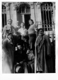 The Sperling family with relatives visiting from the States. Taken in front of their home in Jerusalem, circa early 1930s.