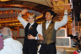 The best waitress and waiter singing Living on the Fun Ship