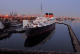 The Queen Mary is waiting for the dawn silently
