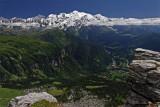 Panorama sur le Massif du Mt Blanc et sur le Massif des Aiguilles Rouges