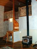 open loft- stairs- woodstove