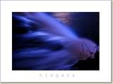 Niagara Falls with blue lights at night