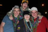 Frieder, Joel, Abby and Greg at the Mardi Gras Parade