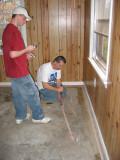 Greg and Kyle Preparing for Carpet