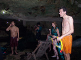 friends swimming at cenote