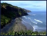 Muriwai's black sand beach, North Island