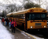 School buses at hometime.