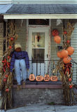 Porch decorated for Halloween, PA