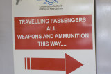 Airport security check-in sign