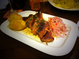 Wild Boar Scewers With Andean Potato And Onion Cake, Cuzco