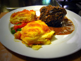 Monstrous Meat Ball With Potato & Cheese Gratinee, Cuzco