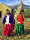 Gals On Uros Floating Islands, Lake Titicaca