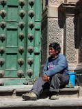 Philosopher On Steps Of Cathedral, Cuzco