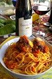 Peruvian Recipe- Turkey Meatballs With Goat Cheese On Bed Of Red Pepper Andean Pasta !