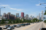 A view of the Chicago skyline as seen from a tour bus excursion.