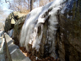 A frozen waterfall in Central Park