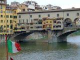 The unique Ponte Vecchio bridge across the River Arno