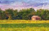 Log Barn On A Hill 61319 Art