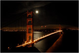 Moon rising over the Golden Gate Bridge