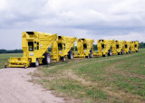 Yellow Balers in a row