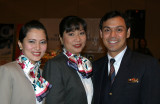 Current flight attendants with purser in the middle