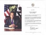 Greeting from California Governor Arnold Schwarzenegger