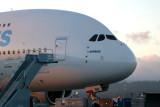 Daybreak.  The plane is massive!