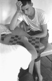 Playing Checkers in the barracks rec room, 1960