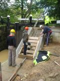 Preparing the steps for concreting