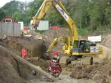 The professionals constructing a sewer diversion near the Onslow Arms