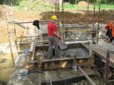 Concreting the coping stone