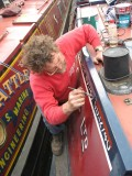 As a break Martin primed & undercoated the last of the cabin side prior the signwriting being completed - Come back Sally!!!
