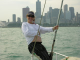 Magy sailing with baby on Lake Michigan along the Chicago coastline