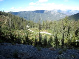 view of the road that the runners climb to No Name Ridge aid station at mile 80