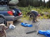 setting up the hammock