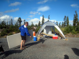 setting up the aid station