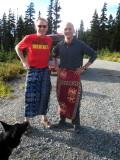 tony & tim sportin' their sarongs