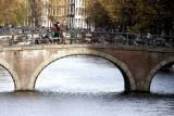 A bridge is a parking place for bikes
